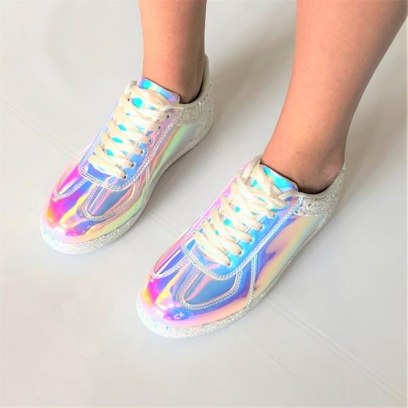 Unicorn Hologram Glitter Kicks Sneakers New White d927ef3c8343